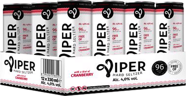 Viper Hard Seltzer Cranberry (12 x 330 ml)